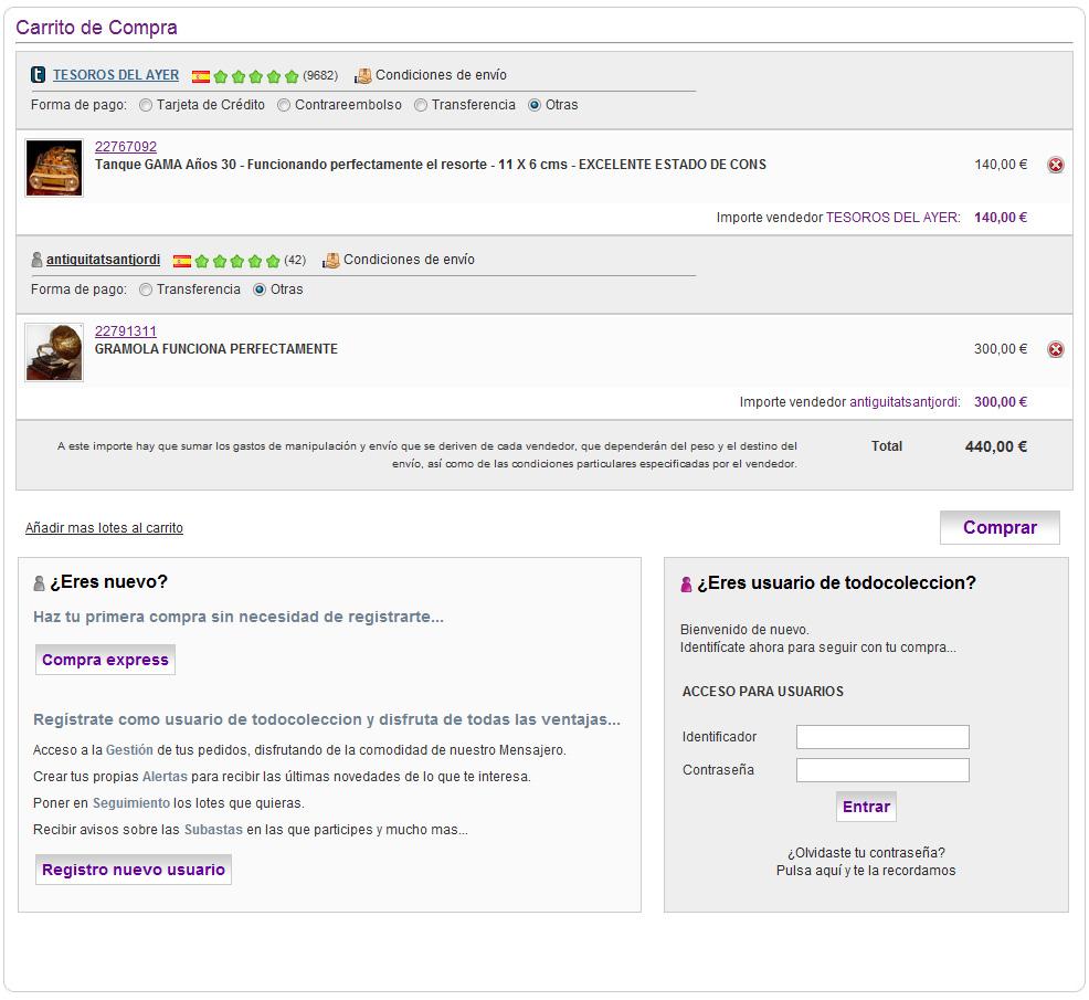 Tc mejoras nuevo carrito de compra todocoleccion blog for Compra de comedores nuevos