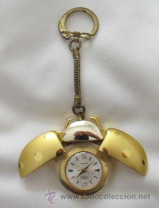 Reloj de cuerda en llavero de mariquita